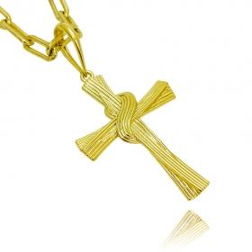Pingente Crucifixo Trançado 4D (4,9cmX3,4cm) (7g) (Banho Ouro 24k)
