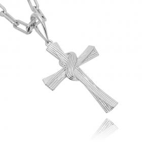 Pingente Crucifixo Trançado 4D (4,9cmX3,4cm) (7g) (Banho Prata 925)