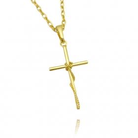 Pingente Crucifixo Trançado 5 Mini (3cmX1,9cm) (Banho Ouro 24k)