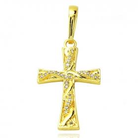 Pingente Crucifixo Trançado Cravejado 2 (3cmX2cm) (Banho Ouro 24k)