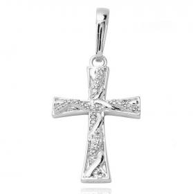 Pingente Crucifixo Trançado Cravejado 2 (3cmX2cm) (Banho Prata 925)