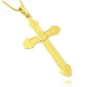 Pingente Crucifixo Vaticano 4,5cm X 2,5cm (Banho Ouro 24k)
