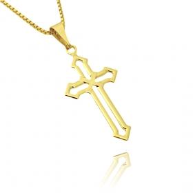 Pingente Crucifixo Vazado 2,8cm X 1,5cm (Banho Ouro 24k)
