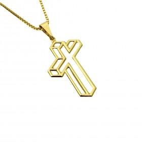 Pingente Crucifixo Vazado Lateral 2,7cm X 1,6cm (Banho Ouro 24k)