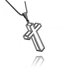 Pingente Crucifixo Vazado Lateral (2,7cmX1,6cm) (Banho de Ônix)