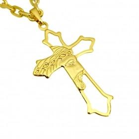 Pingente Crucifixo Vazado Rosto De Cristo 4,3cm X 2,7cm (Banho Ouro 24k)