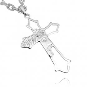 Pingente Crucifixo Vazado Rosto De Cristo (4,3cmX2,7cm) (Banho Prata 925)