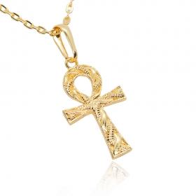 Pingente Cruz Ansata (3cmX2cm) (Banho Ouro 24k)