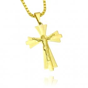 Pingente Cruz c/ Cristo Duas Texturas (3,8cmX2,8cm) (Banho Ouro 24k)