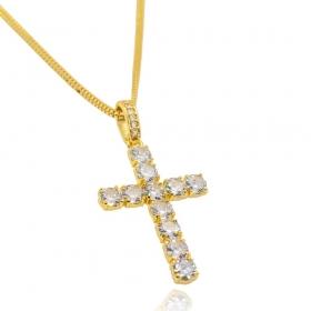 Pingente Cruz c/ Zircônia Cristal (4,1cmX2,7cm) (Banho Ouro 24k)