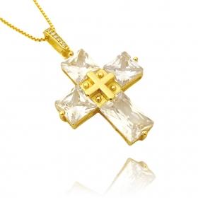 Pingente Cruz Com Pedras Quadradas (8g) (3,3cm X 2,6cm) (Banho Ouro 24k)