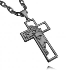Pingente Cruz com Rosto de Cristo Vazado (3,7cmX2,2cm) (Banho de Ônix)