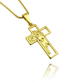 Pingente Cruz com Rosto de Cristo Vazado Mini (2,7cmX1,6cm) (Banho Ouro 24k)