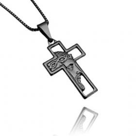 Pingente Cruz com Rosto de Cristo Vazado Mini (2,7cmX1,6cm) (Banho de Ônix)