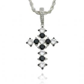 Pingente Cruz Com Zircônia Cristal e Preta (4,5cmX3,2cm) (Banho Prata 925)