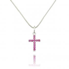 Pingente Cruz Cravejada em Zircônia Rosa (1,6cmX1,1cm) (Prata 925 Maciça)