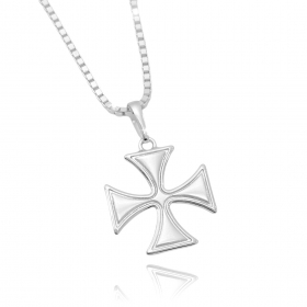 Pingente Cruz de Malta (3cmX2,7cm) (Banho Prata 925)