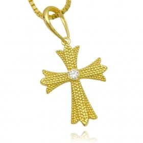 Pingente Cruz Gótica ICED Cravejada em Zircônia (3,5cmX2,8cm) (Banho Ouro 24k)