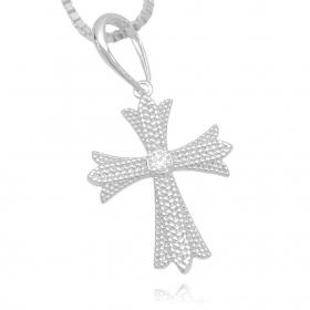 Pingente Cruz Gótica ICED Cravejada em Zircônia (3,5cmX2,8cm) (Banho Prata 925)