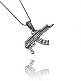 Pingente Draco Arma Cravejada (2,4cmX4,2cm) (Banho de Ônix)