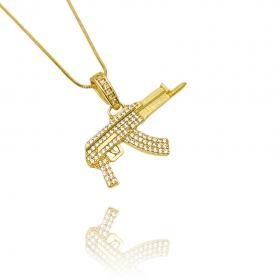 Pingente Draco Arma Cravejada (2,4cmX4,2cm) (Banho Ouro 24k)