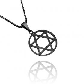 Pingente Estrela de Davi (2,2cmX1,9cm) (Banho de Ônix)