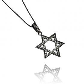Pingente Estrela de Davi Cavejado em Zircônia (3,2cmX3,2cm) (Banho de Ônix)