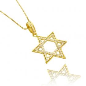 Pingente Estrela de Davi Cavejado em Zircônia (3,2cmX3,2cm) (Banho Ouro 24k)