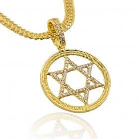 Pingente Estrela de Davi Cravejado c/ Borda (4cmX3,6cm) (7,7g) (Banho Ouro 24k)