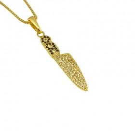 Pingente Faca Cravejado em Zircônia (3,0x0,7cm) (1,8g) (Banho Ouro 24k)