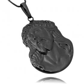 Pingente Face de Cristo Detalhado (4,1cmX2,9cm) (Banho de Ônix)
