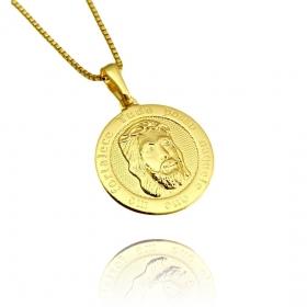 Pingente Face de Cristo Redondo (2,0x2,0cm) (Banho Ouro 24k)