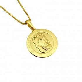 Pingente Face de Cristo Redondo (2,0x2,0cm) (2g) (Banho Ouro 24k)