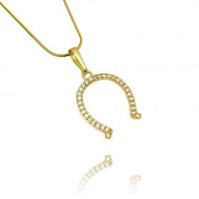 Pingente Ferradura Cravejada (2,7cmX2,1cm) (Banho Ouro 24k)