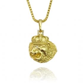 Pingente Leão Cravejado (3cmX2,5cm) (Banho Ouro 24k)