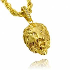 Pingente Leão Maciço (3,0cmX2,2cm) (17g) (Banho Ouro 24k)