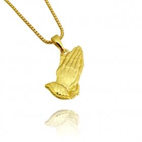 Pingente Mãos Oração (1g) (2,0x1,0cm) (Banho Ouro 24k)