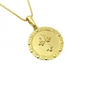 Pingente Medalha Com Cruz (2,4cmX2,2cm) (Banho Ouro 24k)