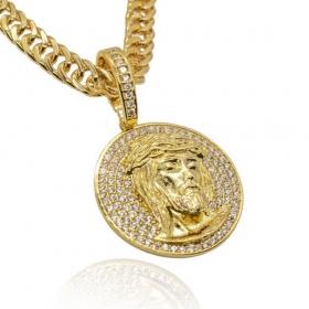Pingente Medalha Cravejada c/ Face de Cristo (3,5cmX3,2cm) (10,5g) (Banho Ouro 24k)