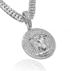 Pingente Medalha Cravejada c/ Face de Cristo (3,5cmX3,2cm) (10,5g) (Banho Prata 925)
