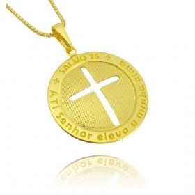 Pingente Medalha Crucifixo Salmo 25 (2,6x2,6cm) (Banho Ouro 24k)