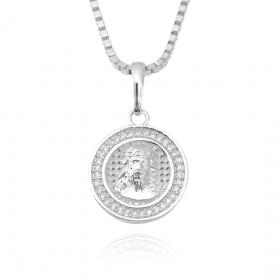 Pingente Medalha de Cristo Borda Cravejada (2,5cmX2,2cm) (Banho Prata 925)