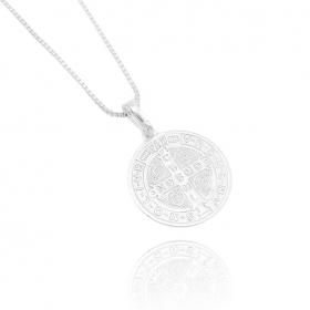 Pingente Medalha de São Bento Dupla Face (2,3cmX2,2cm) (Banho Prata 925)