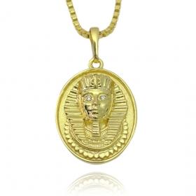 Pingente Medalha Faraó Cravejado (3,5cmX2,6cm) (10,5g) (Banho Ouro 24k)