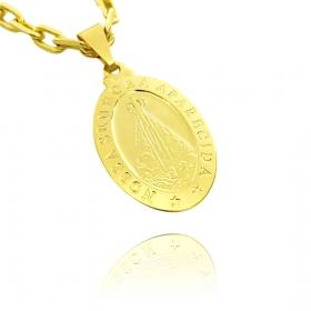 Pingente Medalha Nossa Senhora Aparecida 2,3x1,2cm (3,5g) (Banho Ouro 24k)