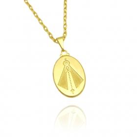 Pingente Medalha Nossa Senhora Aparecida (2,5cmX1,7cm) (Banho Ouro 24k)