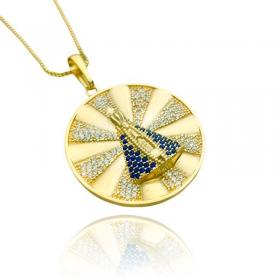 Pingente Medalha Nossa Senhora Cravejado (3,9cmX3,6cm) (9,2g) (Banho Ouro 24k)