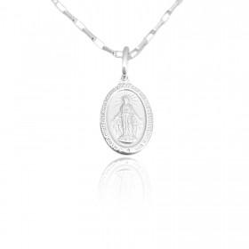 Pingente Medalha Nossa Senhora da Graça 1,7cm x 1,0cm (Dupla Face) (Prata 925 Italiana)