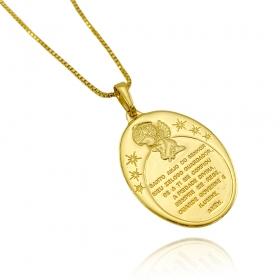 "Pingente Medalha Oval ""Santo Anjo"" (3,3cmX2,4cm) (Banho Ouro 24k)"
