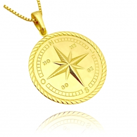 Pingente Medalha Rosa Dos Ventos (3g) (2,6cmX2,6cm) (Banho Ouro 24k)